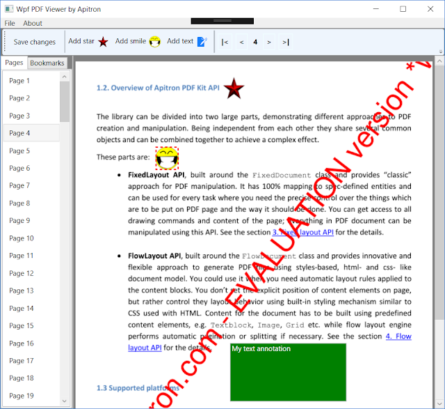 Pic. 1 Wpf PDF Viewer based on Apitron components