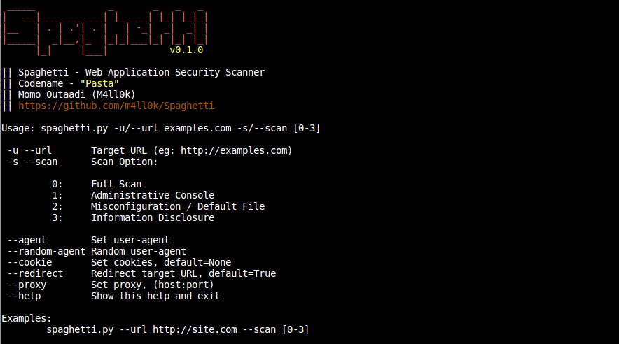 Spaghetti Web Application Security Scanner Kitploit