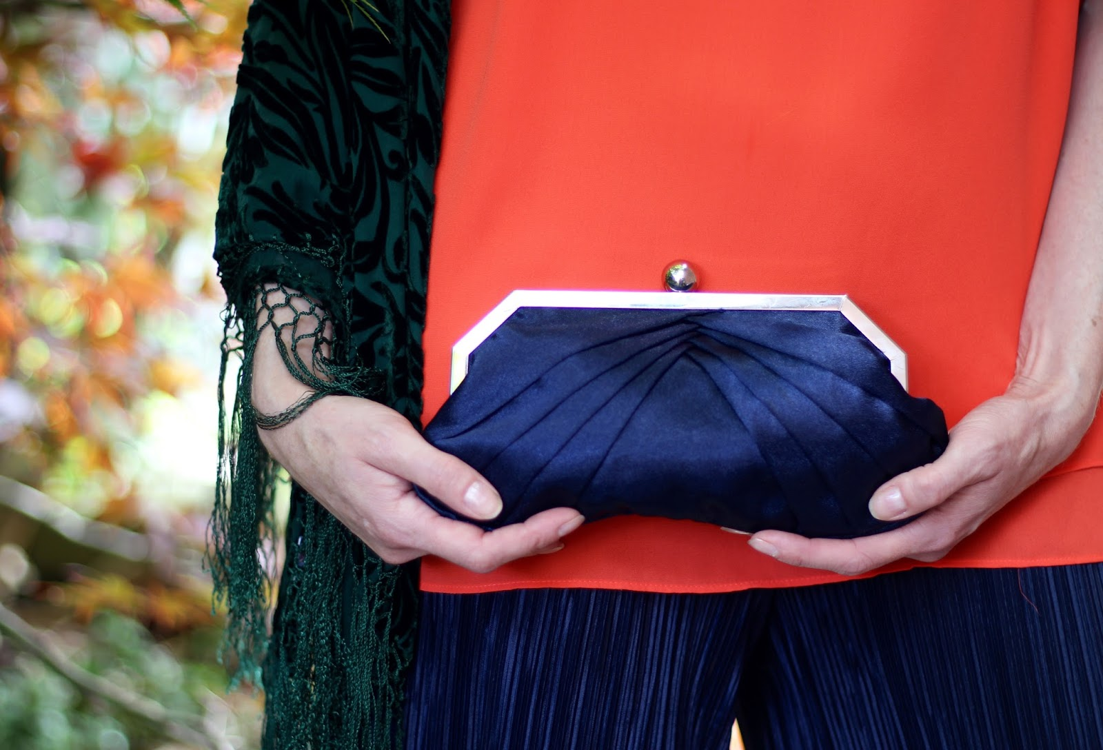 Orange and Navy | Vintage Satin Clutch | Fake Fabulous
