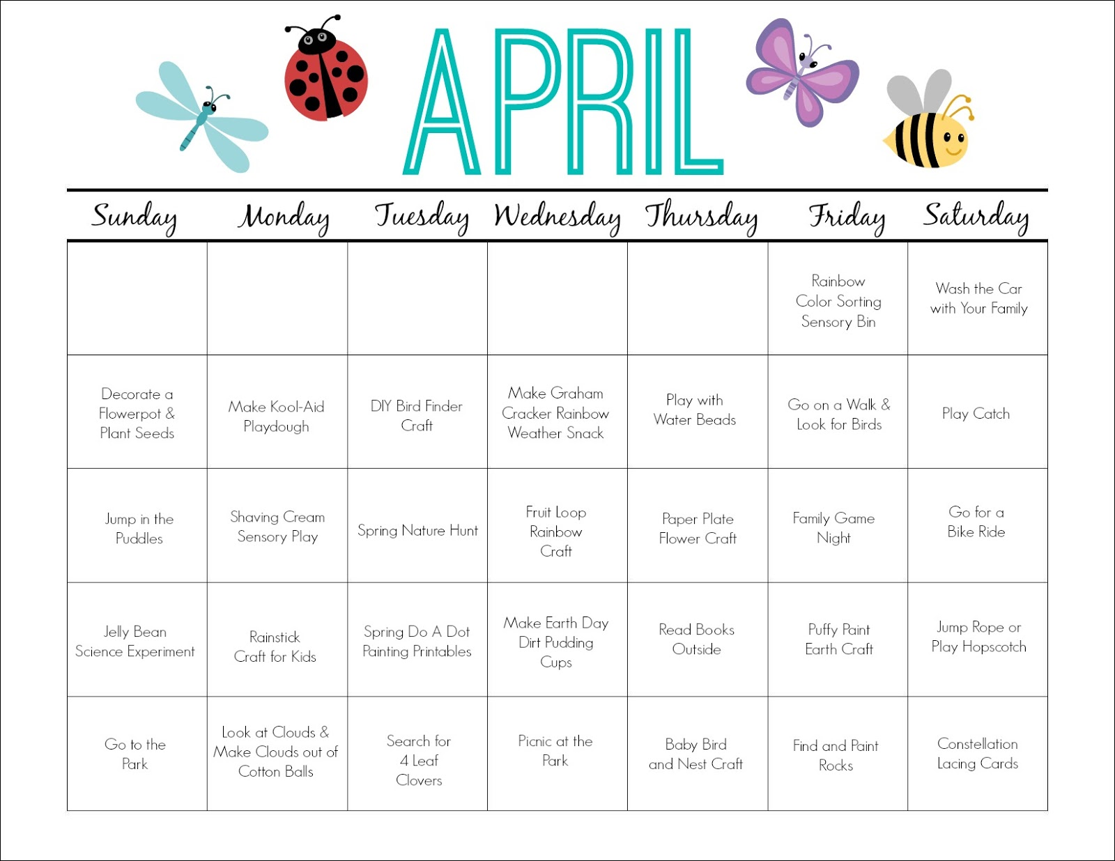 April Calendar Picture Ideas : Printable activity calendar for kids free from