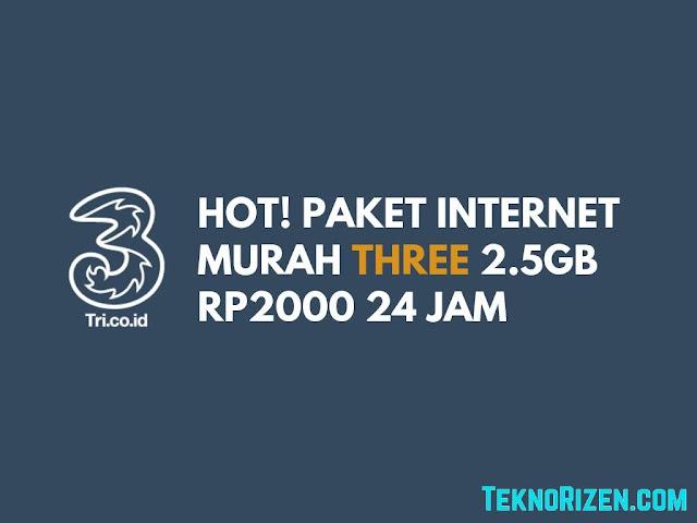 HOT! Paket 3 Tri 2.5GB Rp2.000 Tanpa Pembagian Waktu!