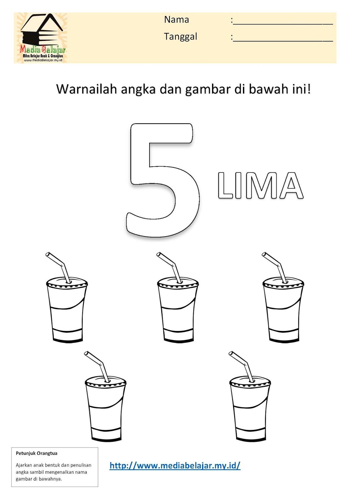 Mewarnai Angka 5 Lima Dan Mewarnai Gambar Minuman
