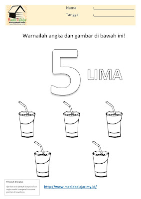 Mewarnai Angka 5 (lima) dan Mewarnai Gambar Minuman