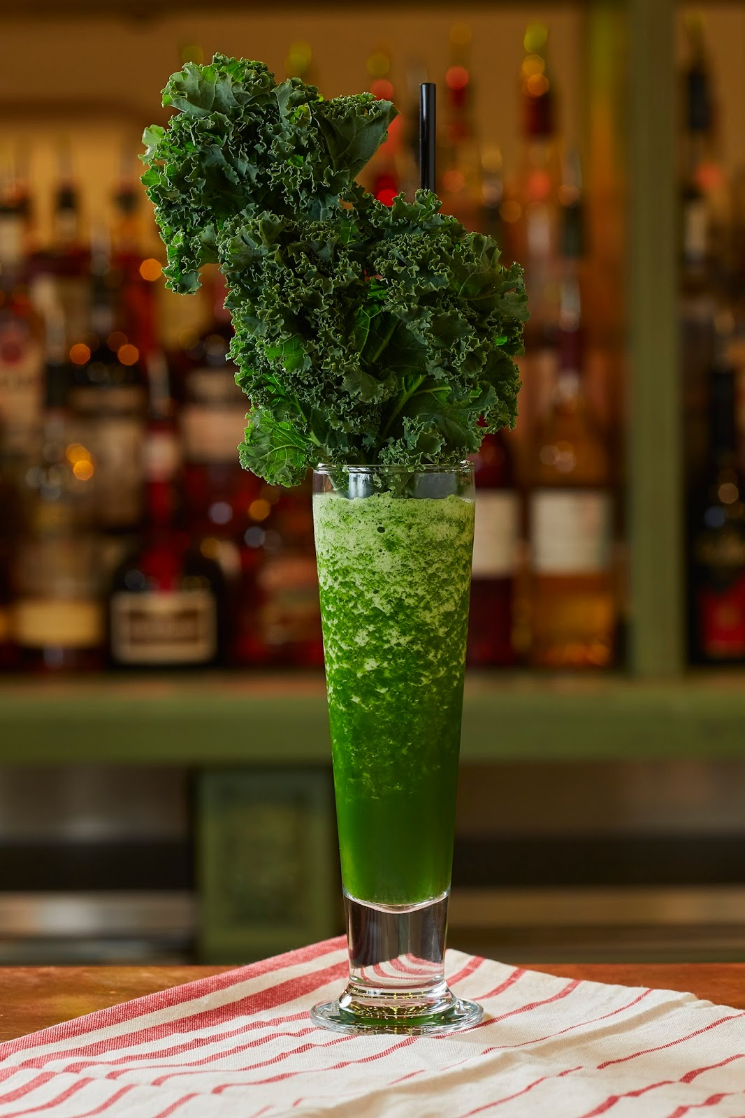 – Kale, apple juice, sugar syrup and lime juice blended together as a smoothie.