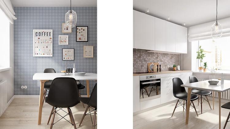 Reforma de un pequeño apartamento, papel pintado en la cocina