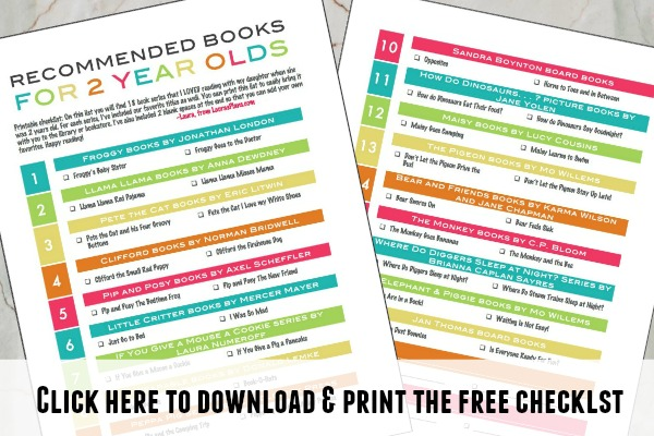 Printable checklist of recommended books to read with your 2 year old or toddler