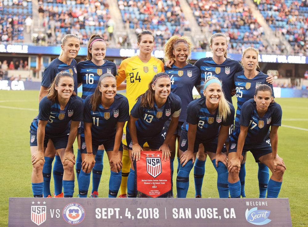 Formación de selección femenina de Estados Unidos ante Chile, amistoso disputado el 4 de septiembre de 2018