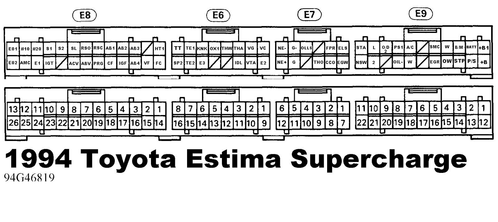 Toyota Estima Ecu Wiring Diagram Detailed Diagrams 1994 89661 28590 Tarago Previa Pickup Harness
