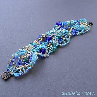 необычный женский браслет купить голубой браслет из бисера цена фото анабель
