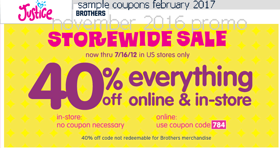 Justice coupons march 2018