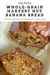 Whole-Grain Harvest Nut Banana Bread:  Delectiable nutty goodness makes this earthy banana bread perfect for Fall!  - Slice of Southern
