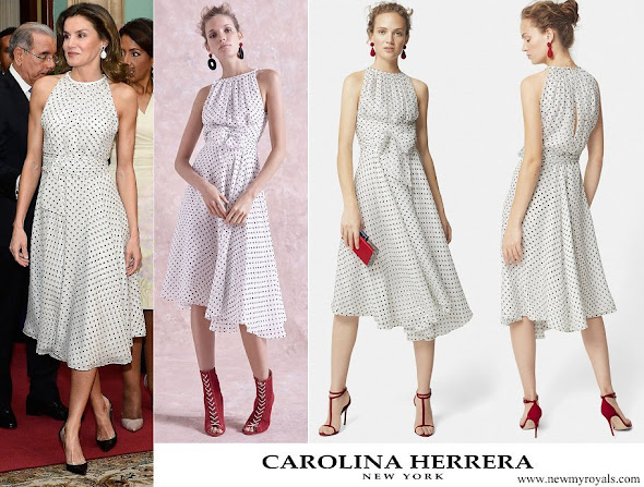 Queen Letizia wore CAROLINA HERRERA Silk dress with polka dots
