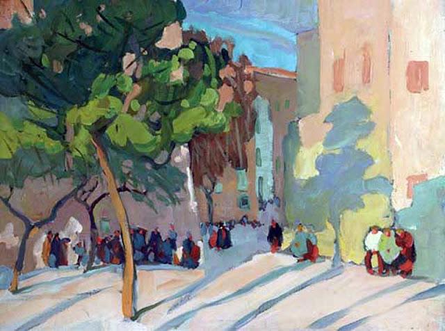 Jane Peterson, Calle de  Mallorca, Mallorca en Pintura, Mallorca en Pintura, Mallorca pintada, Paisajes de Mallorca, Mallorca en Pintura