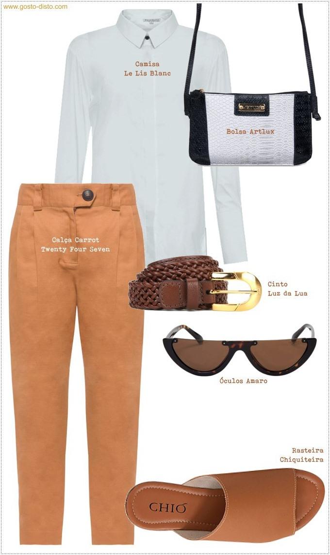 Look com camisa branca e calça carrot