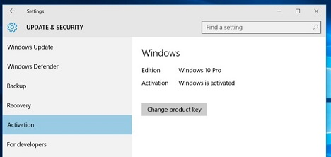 windows activation tab