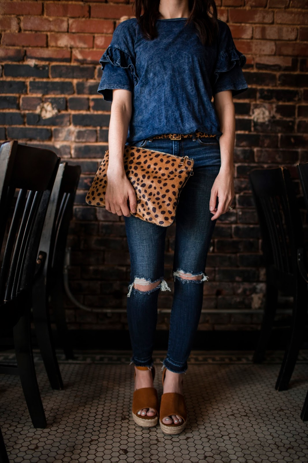 Casual look with leopard clutch and espadrille wedges