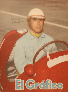 Farina on the cover of the Argentine motor racing magazine El Gráfico in 1953