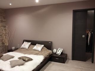 chambre beige taupe marron contemporain