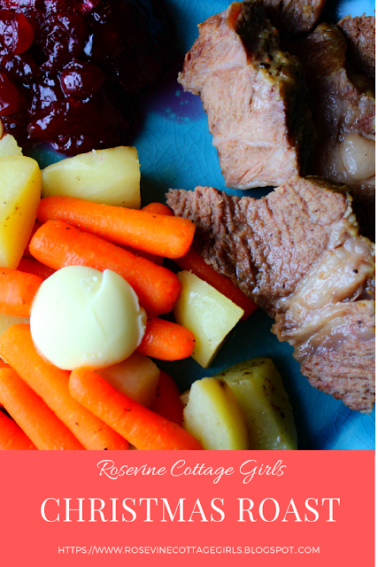 Christmas Roast - photo of a blue plate with beef roast, carrots, potatoes an chunky cranberry sauce by RosevineCottageGirls.com