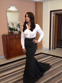 Aishwarya Rai In White Top And Long Black Gown