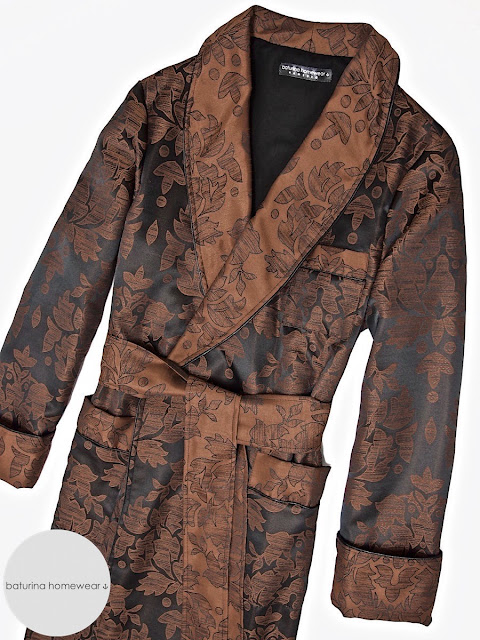 Men's luxury paisley cotton robe dressing gown warm lined smoking jacket