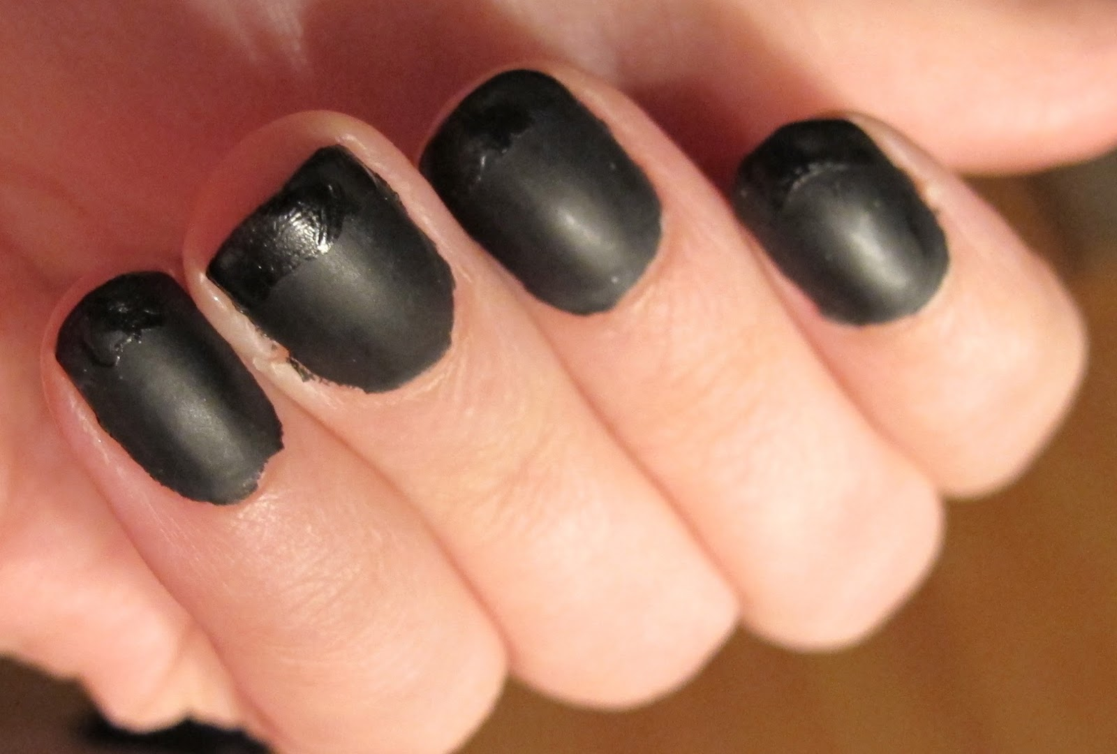 Steph Stud Makeup Matte Black French Manicure With Glossy Tips