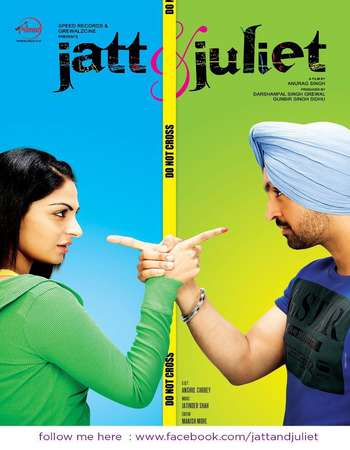Poster Of Jatt & Juliet 2012 Punjabi 550MB DVDRip 720p ESubs HEVC Watch Online Free Download downloadhub.in