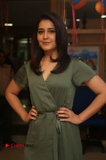 Actress Raashi Khanna Stills in Green Short Dress at Mirchi 95 Suno Aur Mercedes Jeeto Contest 0007