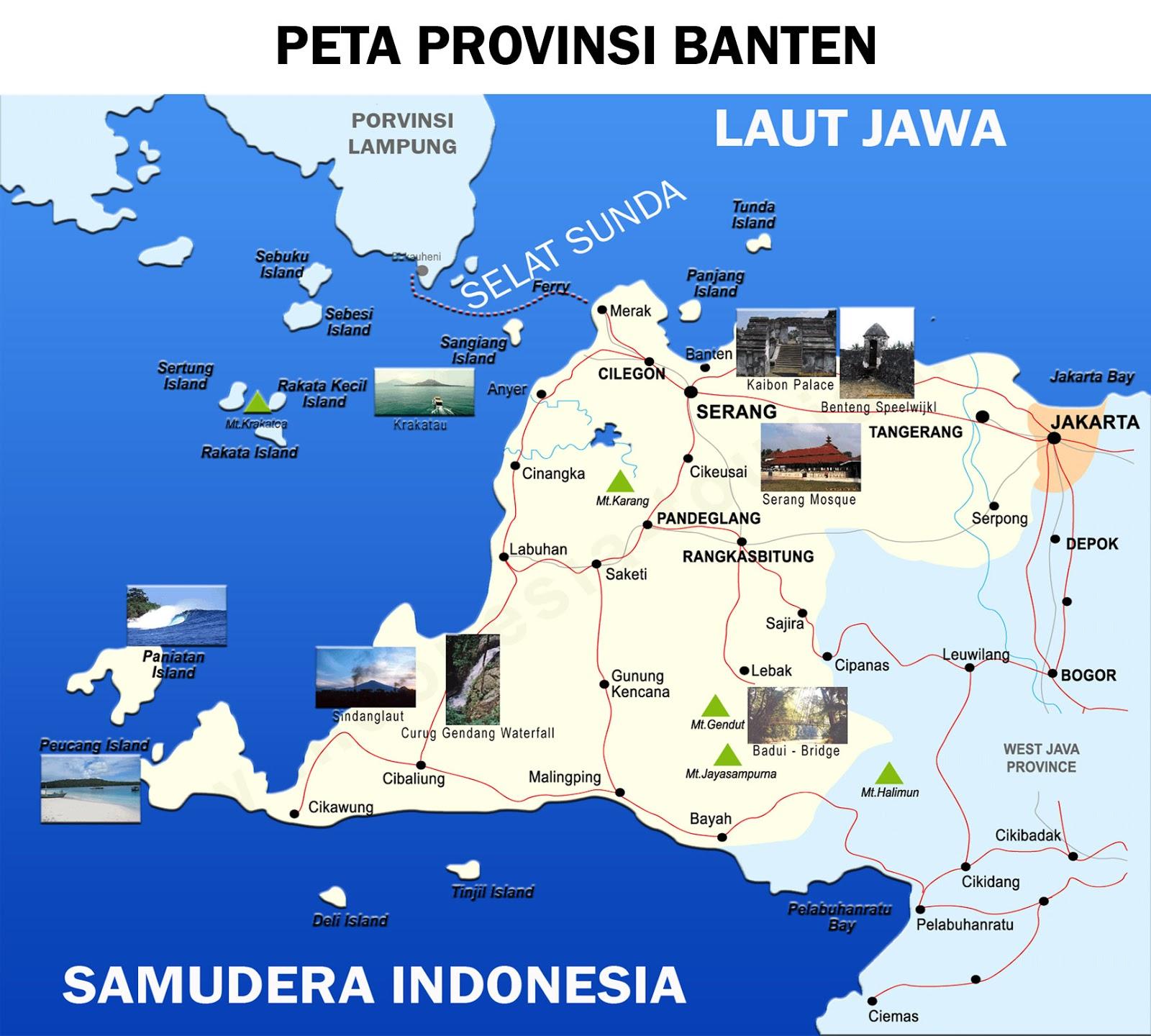 Peta Banten Lengkap 4 Provinsi Kota Sejarah Negara Gambar Buta