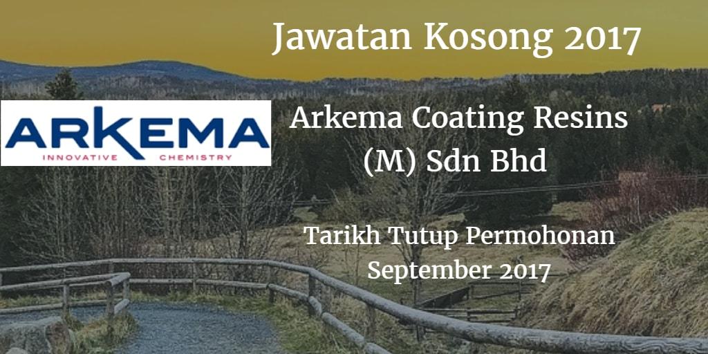 Jawatan Kosong ARKEMA COATING RESINS MALAYSIA SDN.BHD. September 2017