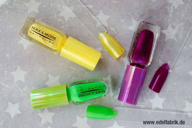 die Edelfabrik, Review der Marke Max + More Neon Nagellack von action, Swatch