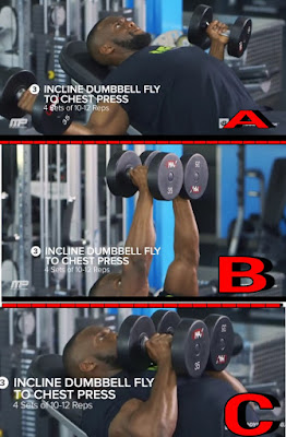 inclined dumbbell fly, chest workout