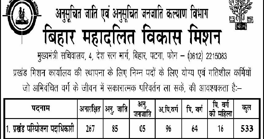BMVM_Block-779143  Th P Govt Job Online Form Bihar on