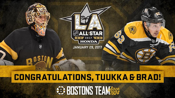 Bruins goalie Tuukka Rask and forward Brad Marchand were selected for the 2017 NHL All-Star game