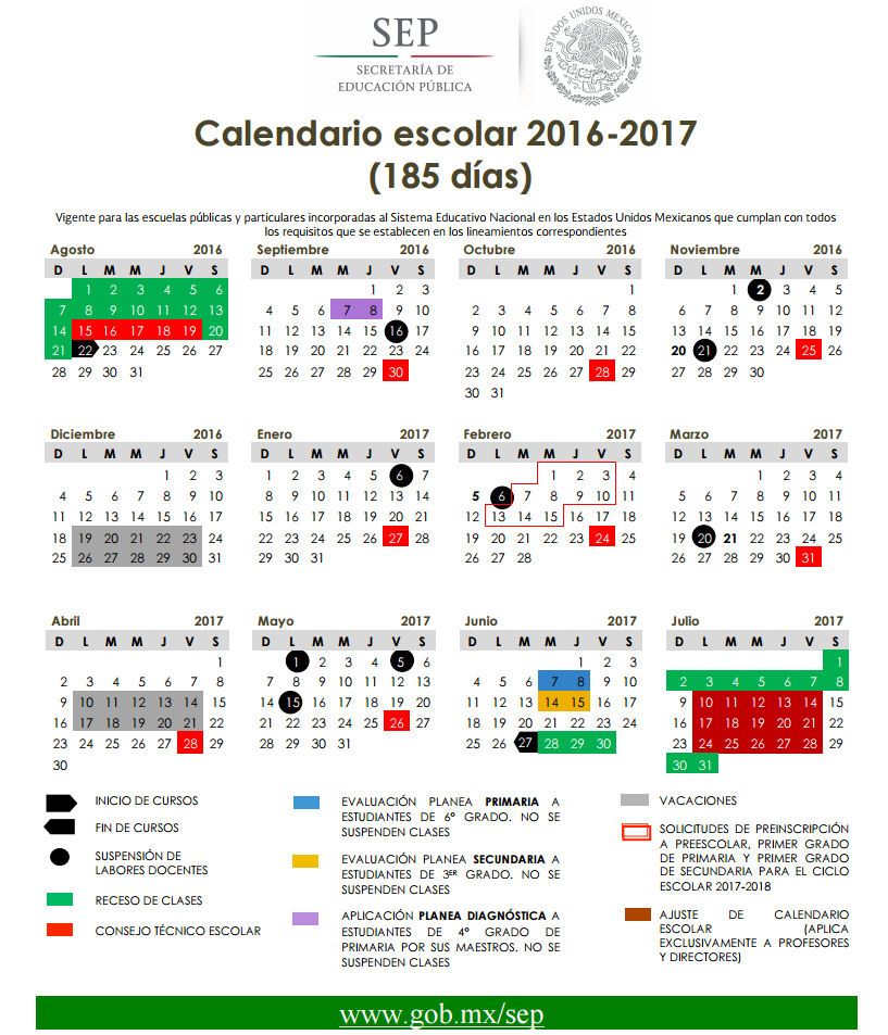 Calendario SEP 185 días Ciclo Escolar 2016-2017