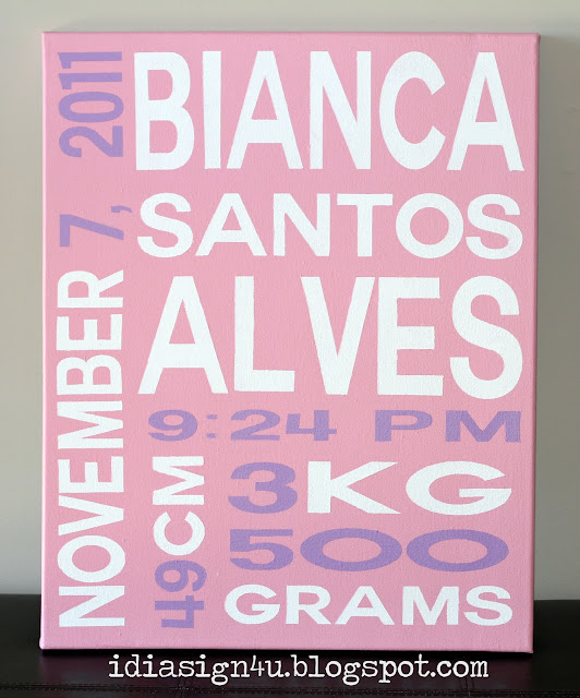 DIY Personalized Word Art | Binca's Birth Announcement Painting by ilovedoingallthingscrafty.com
