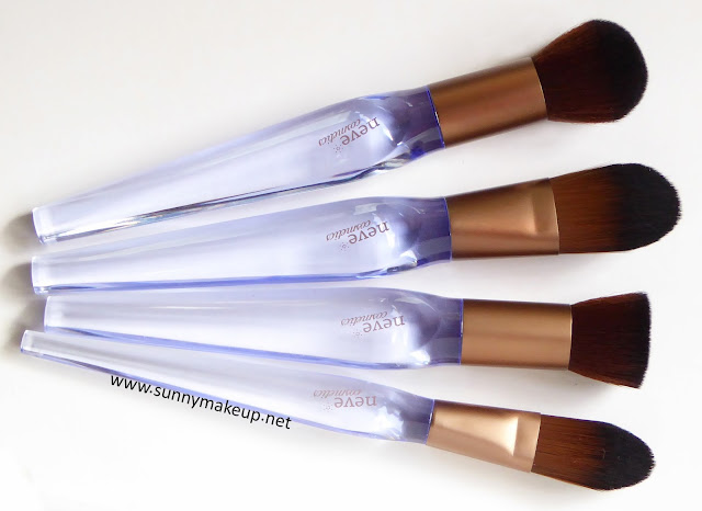 Neve Cosmetics - Crystal Flawless Brushes. Crystal Blush, Crystal Base, Crystal Flat, Crystal Concealer.