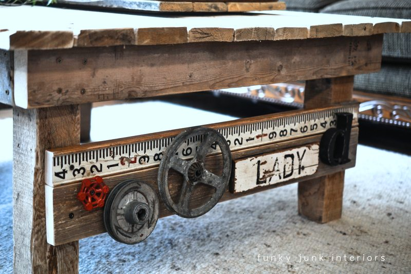 Junk Styled Pallet Wood Coffee Table, By Funky Junk Interiors
