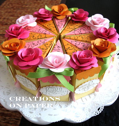 Creations On Paper Cake Slice Box Happy Birthday To My Sister