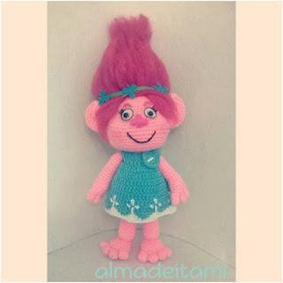 patron amigurumi Princesa Poppy trolls comunidad del ganchillo