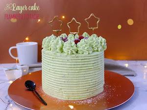 Layer cake pistache framboise