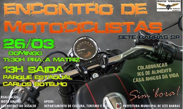 Encontro de Motociclistas de Sete Barras neste domingo 23/03