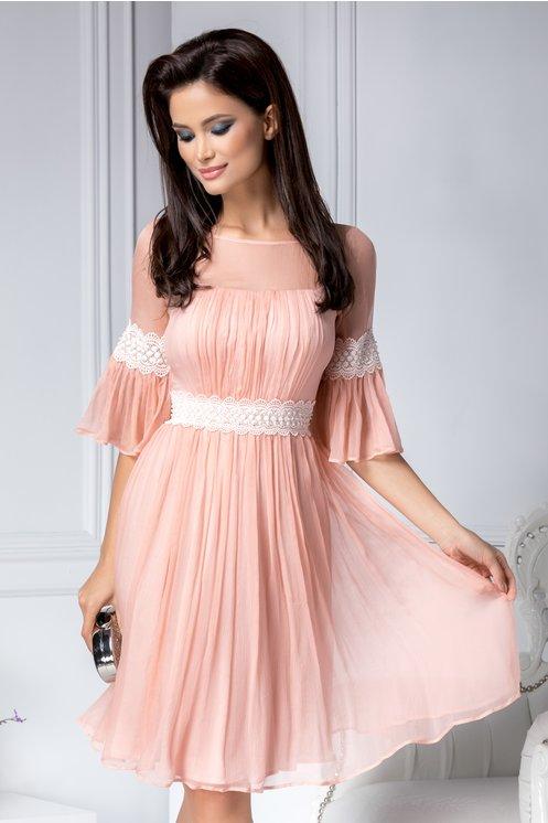 Rochie de lux eleganta de ocazii, rose din matase naturala