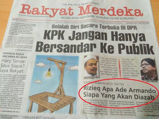 Rakyat Merdeka Muat Mubahalahnya di Halaman Satu, Begini Reaksi Ade Armando