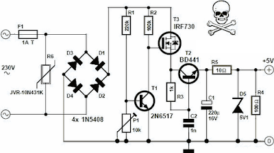 NTE Electronics Circuit: Transformerless 5 Volt Power Supply