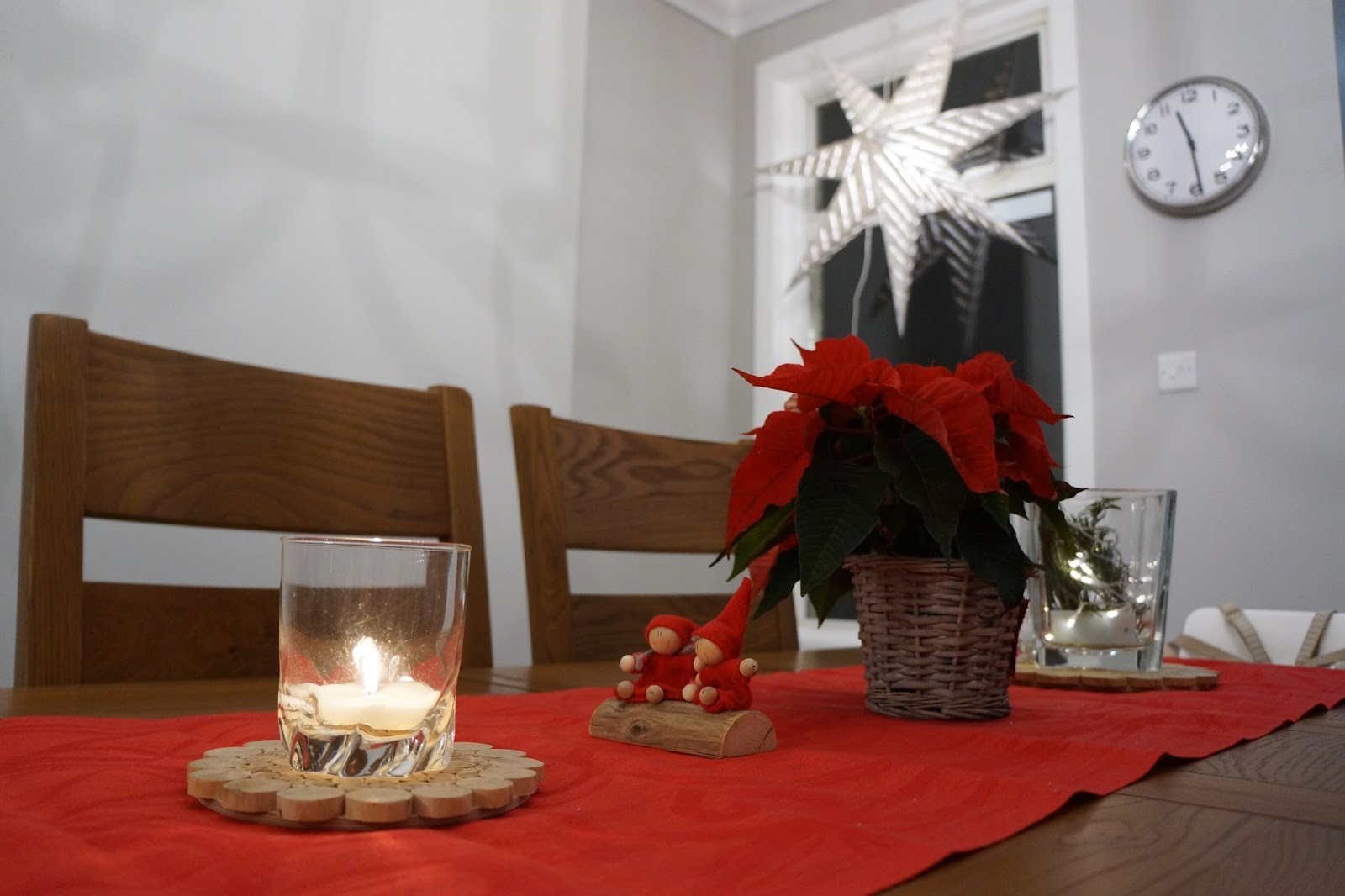 scandinavian style christmas decorations with a star and elves