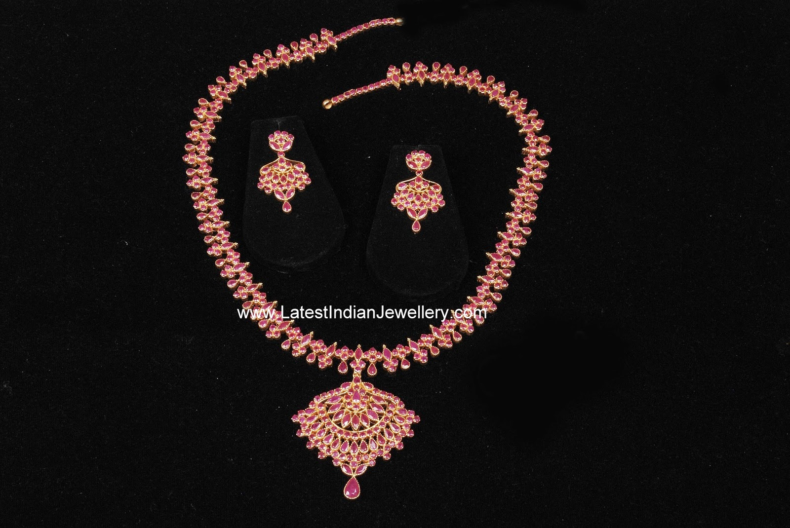Ruby Gold Haram and Earrings