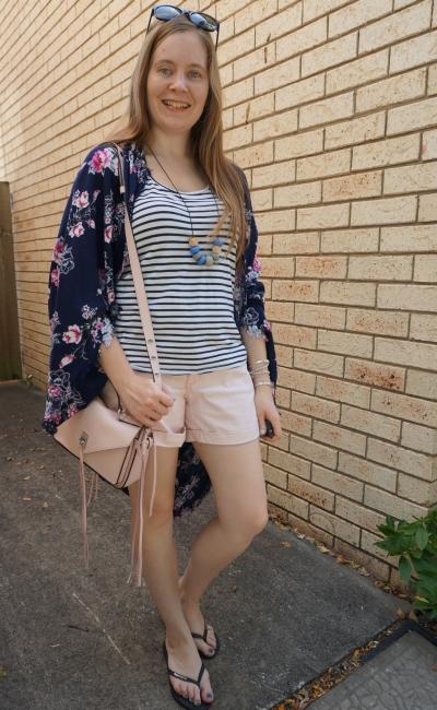 navy floral cocoon kimono stripe tank pastel pink shorts Rebecca Minkoff Darren | awayfromblue