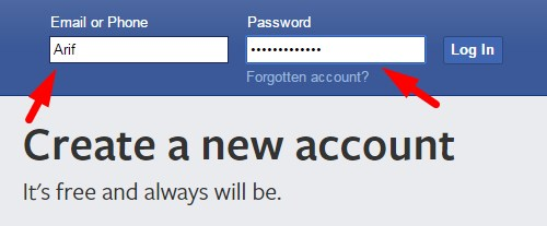 Facebook login page username and password