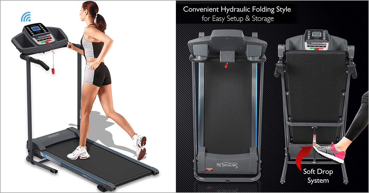 Electric Folding Treadmill Exercise Machine - Smart Compact Digital Fitness Treadmill Workout Trainer w/ Bluetooth App Sync, Manual Incline Adjustment, For Walking, Running, Gym - SereneLife SLFTRD20